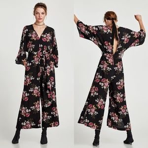 Zara - Floral Print Jumpsuit - XS